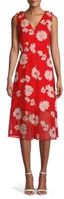 Vince Camuto Floral Chiffon Shoulder-Tie Midi Dress