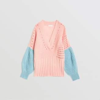 Burberry Contrast Knit Mohair Wool Blend Sweater