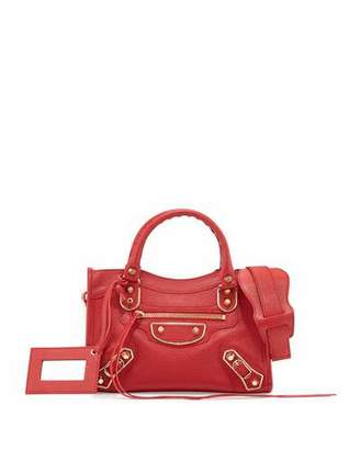 Balenciaga Metallic Edge City Mini AJ Satchel Bag, Red $1,545 thestylecure.com