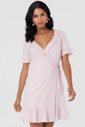 Na Kd Boho Wrap Over Frill Linen Look Dress Light Pink