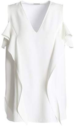 Elie Tahari Cold-Shoulder Ruffled Crepe Top