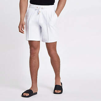 River Island White pintuck wasp embroidered slim shorts