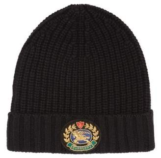 Burberry Crest Wool And Cashmere Blend Beanie Hat - Mens - Black
