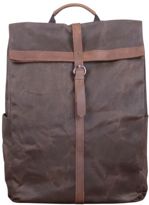 Touri 15'' Fold-Over Waxed Canvas & Leather Backpack In Chestnut Brown