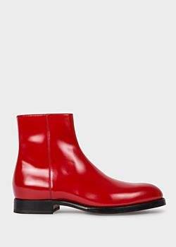 Men's Red Leather 'Hawkins' Zip Boots