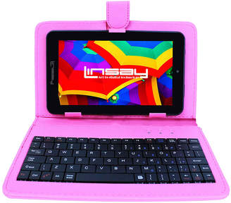 LINSAY 7 HD QUAD CORE Android 6.0 Tablet 8GB DUAL CAM Bundle with Pink Leather Keyboard Case