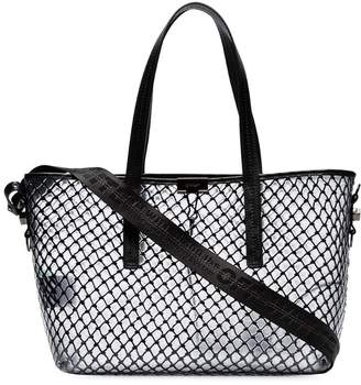 Off-White black netted PVC leather trim tote bag