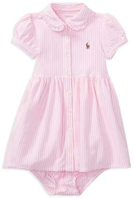 Ralph Lauren Girls' Oxford Striped Dress & Bloomers Set - Baby