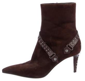 Sergio Rossi Suede Embellished Mid-Calf Boots