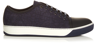 LANVIN Crocodile-effect leather trainers $420 thestylecure.com