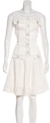 Oscar de la Renta Sleeveless Tweed-Accented Midi Dress