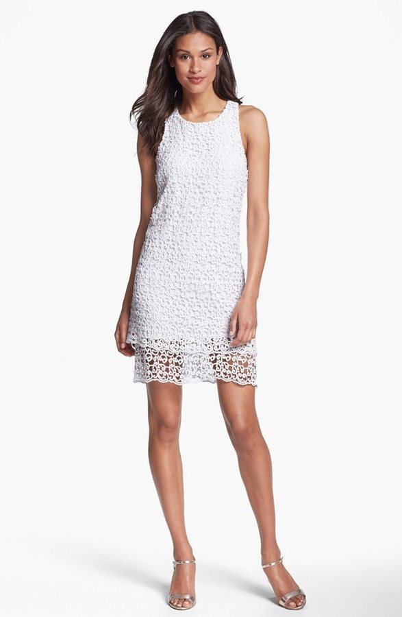 Laundry by Shelli Segal Tiered Cotton Lace Racerback Dress