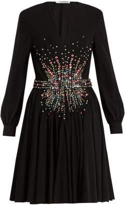 Miu Miu Plunging embellished silk mini dress