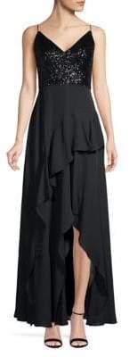 Calvin Klein Sequin & Chiffon Ruffle Slit Gown