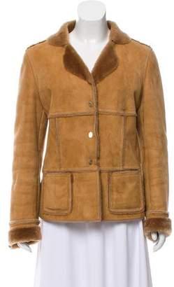 Salvatore Ferragamo Notched-Lapel Shearling Coat