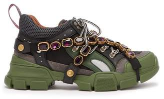 Gucci Flashtrek Crystal Embellished Low Top Trainers - Womens - Black Green