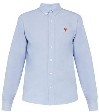 Ami Logo Embroidered Cotton Shirt - Mens - Blue