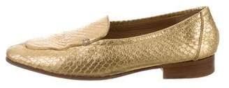 The Row Metallic Snakeskin Loafers