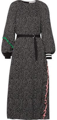 Tibi Martine Silk-trimmed Polka-dot Crepe Midi Dress - Black