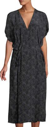 Vince Floral-Print Silk Kimono Wrap Dress
