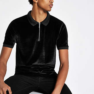River Island Black slim fit velour zip up front polo shirt