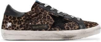 Golden Goose brown Superstar leopard print fur leather sneakers