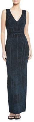 Herve Leger Shimmer Jacquard Column Gown