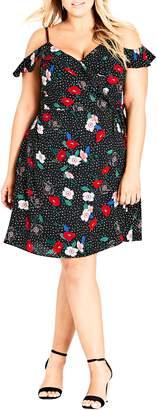 City Chic Floral Spot Cold Shoulder Wrap Dress