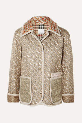 Burberry Printed Quilted Silk-faille Jacket - Beige