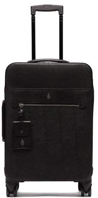 Mark Cross Four Wheel Leather Cabin Suitcase - Mens - Black