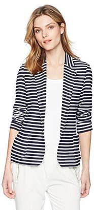 Majestic Filatures Women's French Terry Striped 3-Button Blazer