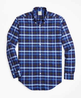 Brooks Brothers Milano Fit Oxford Two-Color Plaid Sport Shirt