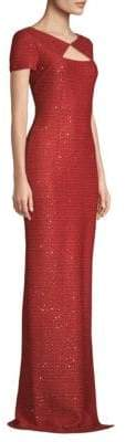 St. John Glamour Sequin Short-Sleeve V-Back Gown