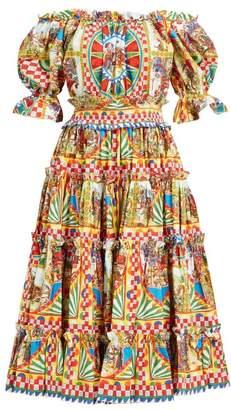 Dolce & Gabbana Carretto Print Off The Shoulder Cotton Midi Dress - Womens - Yellow Multi