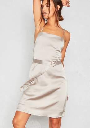 Missy Empire Missyempire Sara Silver Satin D-Belt Slip Dress