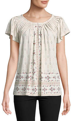 Style&Co. STYLE & CO. Printed Pleat-Neck Top