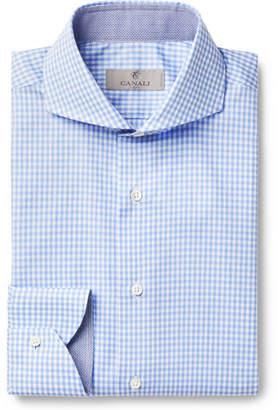 Canali Blue Cutaway-collar Gingham Cotton-poplin Shirt - Blue