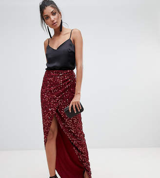 Asos Tall DESIGN Tall maxi embellished wrap skirt