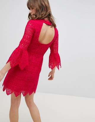 Whistles Exclusive Bridesmaids Open Back Lace Mini Dress