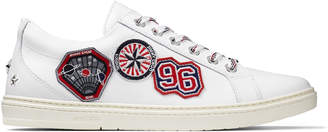 CASH White Sport Calf Low Top Trainers with Embroidered Badges