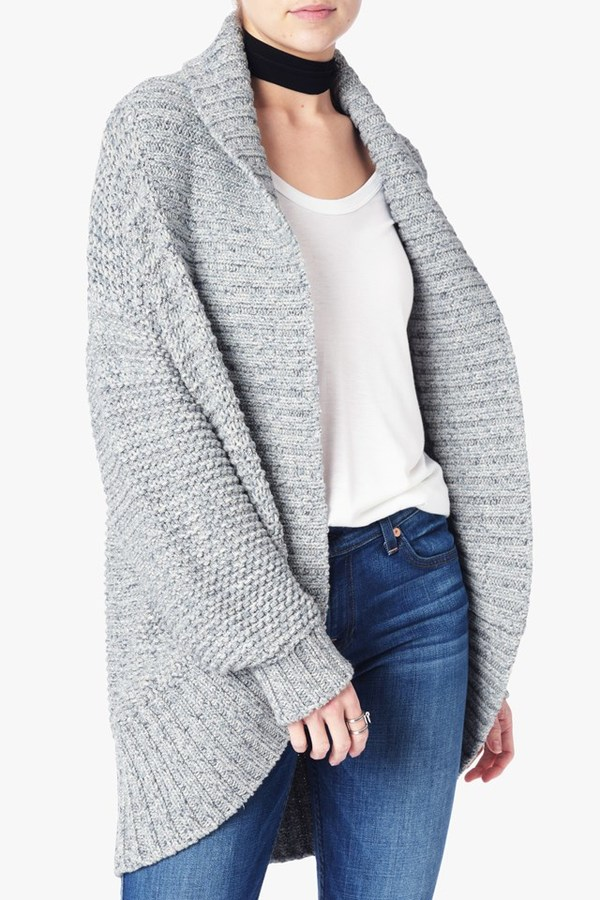 7 For All MankindOversize Cardigan In Greystone Blue