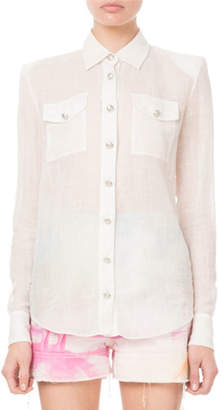 Balmain Oversized Semisheer Canvas Button-Front Blouse