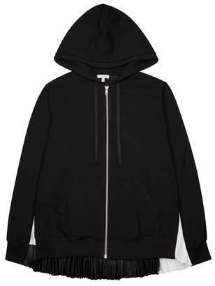 Clu Black Satin And Jersey Sweatshirt