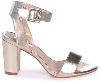 1e475b8fb9c Linzi MILLIE - Gold Metallic Open Toe Block Heel With Ankle Strap And Buckle  Detail
