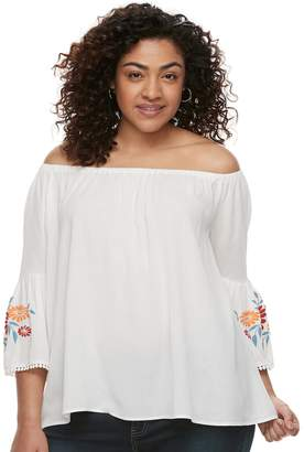 Juniors' Plus Size Liberty Love Embroidered Off-the-Shoulder Top