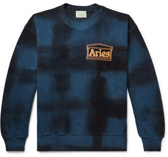Aries Logo-Print Tie-Dyed Cotton-Terry Sweatshirt - Men - Storm blue
