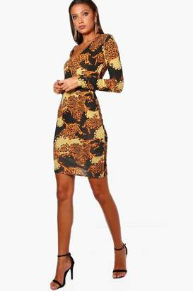 boohoo Tall Printed Wrap Front Dress