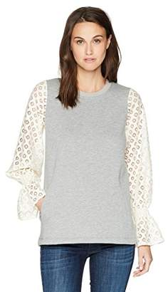 Kensie Women's Cozy Fleece Sweatshirt with Lace Sleeve