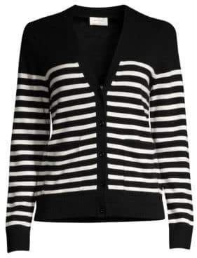 Kate Spade Women's Broome Street Heart Patch Stripe Wool-Blend Cardigan - Black Cream - Size Large