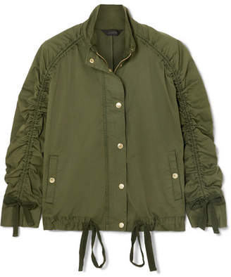 J.Crew Ruched Stretch-cotton Jacket - Army green